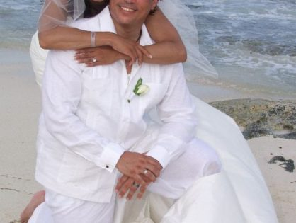 Guayabera shirt beach wedding at Riviera Maya.