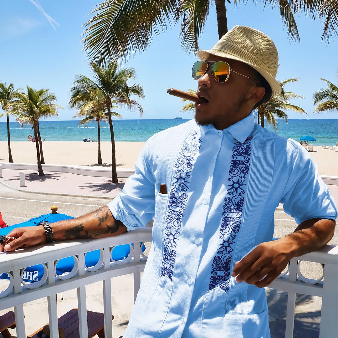 Modern guayabera shirts, bold young designs.