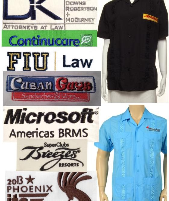 Logo Embroidered Guayaberas for restaurant or corporate event